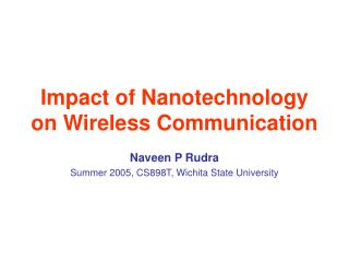 Impact of Nanotechnology on Wireless Communication