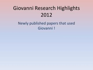 Giovanni Research Highlights 2012