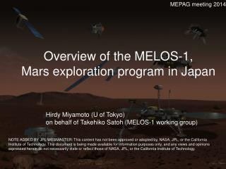 Overview  of the  MELOS-1, Mars exploration program  in  Japan