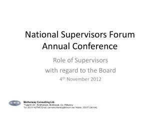 National Supervisors Forum Annual Conference