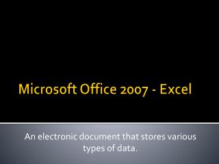 Microsoft Office 2007 - Excel