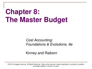 Chapter 8: The Master Budget