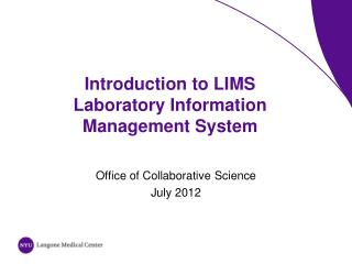 Introduction to LIMS   Laboratory Information Management System