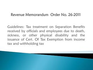 Revenue Memorandum  Order No. 26-2011