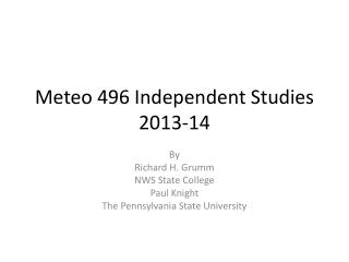 Meteo 496 Independent Studies 2013-14