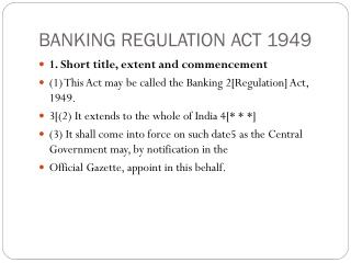 BANKING REGULATION ACT 1949