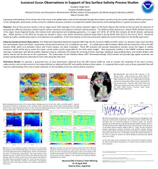 Sustained Ocean O bservations in Support of Sea S urface Salinity P rocess S tudies