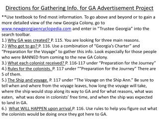 Directions for Gathering Info. for GA Advertisement Project