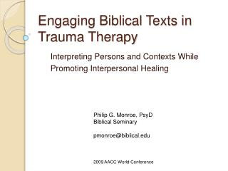 Engaging Biblical Texts in Trauma Therapy