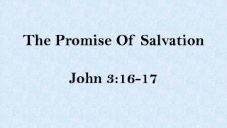 The Promise Of Salvation John 3:16-17