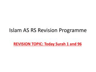 Islam AS RS Revision Programme