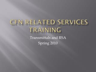 CFN Related Services Training