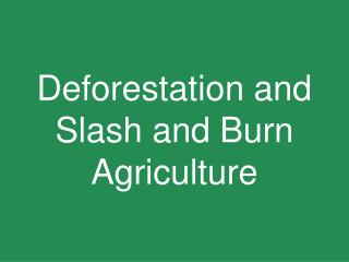 Deforestation and Slash and Burn Agriculture