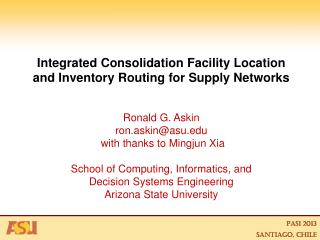 Integrated Consolidation Facility Location  and Inventory Routing for Supply Networks
