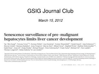 GSIG Journal Club March 15, 2012
