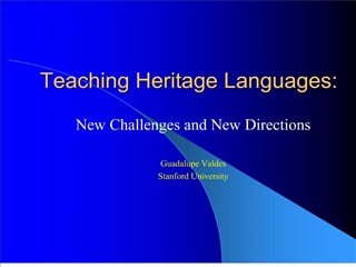 Teaching Heritage Languages: