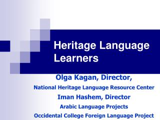 Heritage Language Learners
