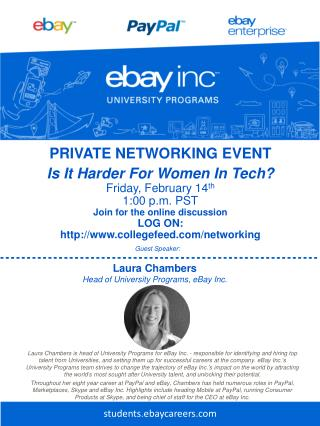 PRIVATE NETWORKING EVENT Is  It Harder For Women In Tech ? Fri day ,  February 14 th