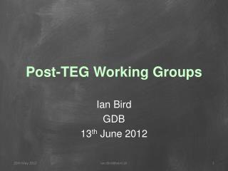 Post-TEG Working Groups