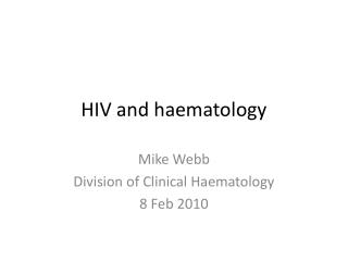 HIV and haematology