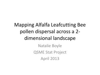 Mapping Alfalfa  Leafcutting  Bee pollen dispersal across a 2-dimensional landscape