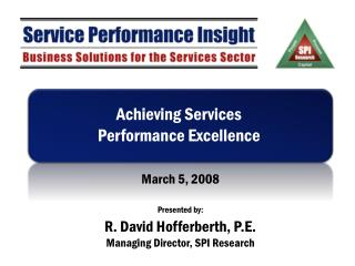 Achieving Services Performance Excellence