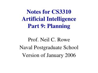 Notes for CS3310 Artificial Intelligence Part 9: Planning