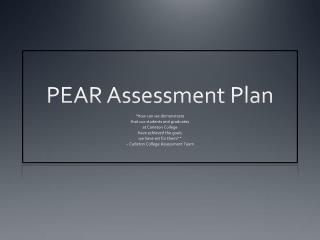 PEAR Assessment Plan