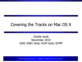 Covering the Tracks on Mac OS X