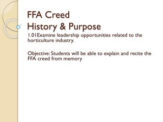 FFA Creed History & Purpose