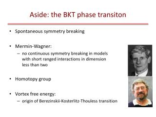 Aside: the BKT phase  transiton