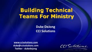 Duke DeJong CCI Solutions