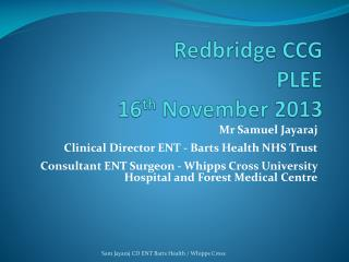 Redbridge  CCG PLEE 16 th  November 2013