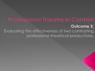 Professional Theatre in Context