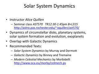 Solar System Dynamics