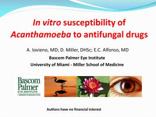 In vitro  susceptibility of  Acanthamoeba  to antifungal drugs