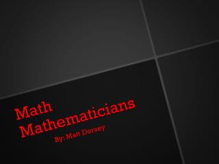 Math Mathematicians