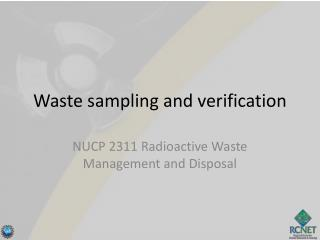 Waste sampling and verification