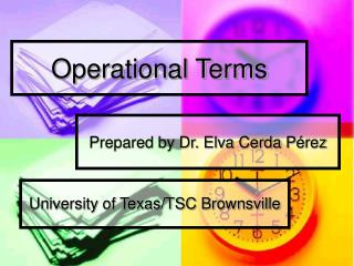 Operational Terms