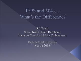 IEPS and 504s… What's the Difference?