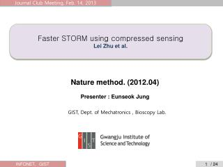 Faster STORM using compressed sensing Lei Zhu et al.