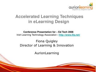 Fiona Quigley Director of Learning & Innovation AurionLearning