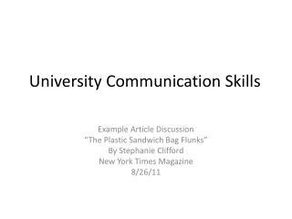 University Communication Skills