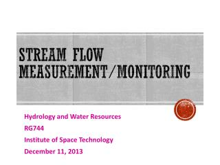 Stream Flow Measurement/Monitoring