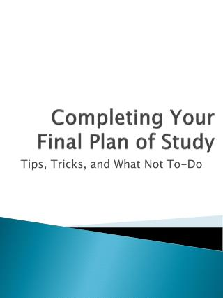 Completing Your Final Plan of Study