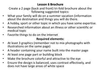 Lesson 6 Brochure