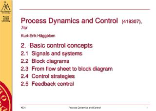 Process Dynamics and Control   (419307), 7cr Kurt-Erik  Häggblom 2.  Basic control concepts
