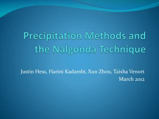 Precipitation Methods and the  Nalgonda  Technique