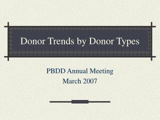 Donor Trends by Donor Types