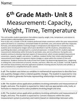Name:_______________________________ 6 th  Grade Math- Unit 8